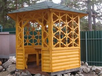 Деревянная шестиугольная садовая дачная открытая беседка
