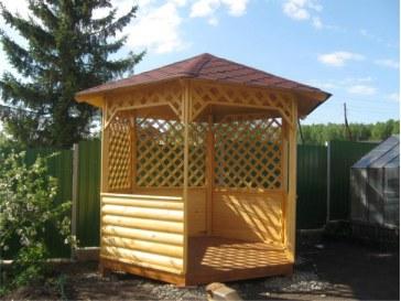 Садовая дачная деревянная шестиугольная беседка с открытым пролётом