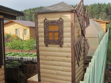 Декоративная садовая дачная ветряная мельница из дерева