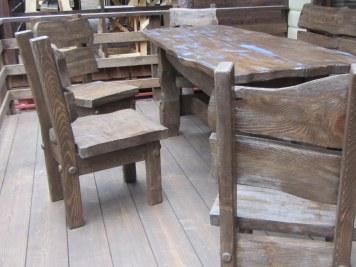 """Деревянный стол для дачи, сада, веранды из брашированной доски под """"старину"""""""